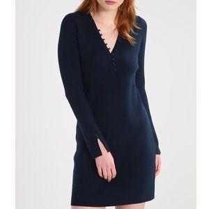 Club Monaco Evangah Sweater Dress Button Dark Blue